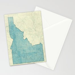 Idaho State Map Blue Vintage Stationery Cards