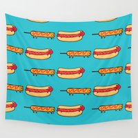 eat Wall Tapestries featuring Dog Eat Dog World by Picomodi