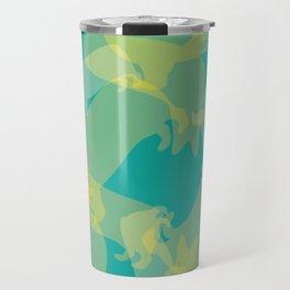 Blue & Yellow Corgi Pattern Travel Mug
