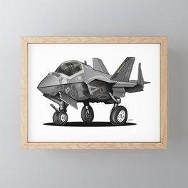 F35 Fighter Jet Airplane - F-35C Lightning II Joint Strike Fighter Cartoon Framed Mini Art Print