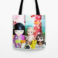 kawaii Tote Bags featuring kawaii by Pissova
