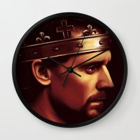 tom hiddleston Wall Clocks featuring Henry V - Tom Hiddleston 'Hollow Crown' by Wisp Wool