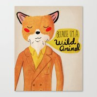golden Canvas Prints featuring Because I'm a Wild Animal by Nan Lawson