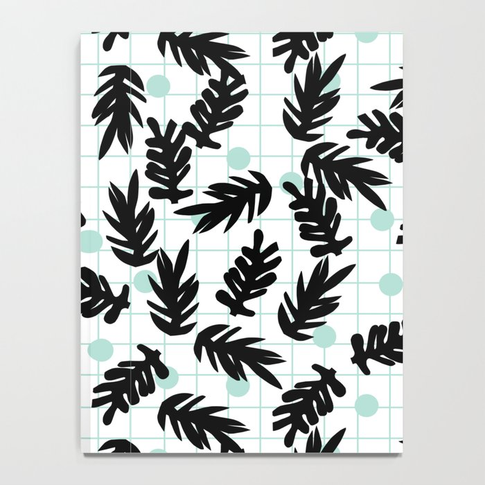 Dotty - black and mint modern pattern grid modern pattern print design urban brooklyn  Notebook