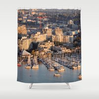 vancouver Shower Curtains featuring Vancouver Marina 1 by Susan's  Shop