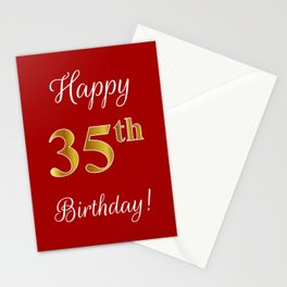 "Elegant ""Happy 35th Birthday!"" With Faux/Imitation Gold-Inspired Color Pattern Number (on Red) Stationery Cards"