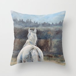 Horse in Morning Mist II Throw Pillow