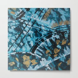 Turquoise and Gold Abstract Painting Metal Print