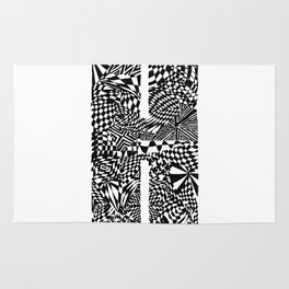 Alphabet Letter H Impact Bold Abstract Pattern (ink drawing) Rug
