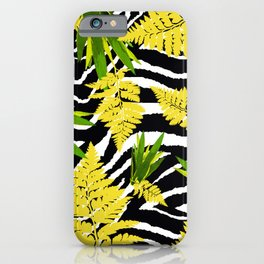 ZEBRA PALMS AND FERNS YELLOW AND GREEN iPhone Case