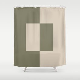 Light Beige Green Minimal Square Design 2021 Color of the Year Uptown Ecru and Sage Shower Curtain