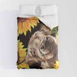 Highland Cown in Sunflowers Garden Comforters
