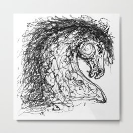 'Horse Insird by Dripped Abstract Pollock Style Metal Print