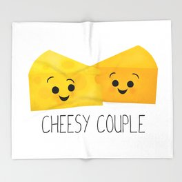 Cheesy Couple | Swiss & Cheddar Cheese Throw Blanket