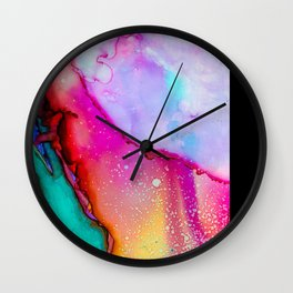 Colorful Abstract Art Pink Green Purple Wall Clock
