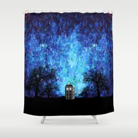 fandom Shower Curtains featuring Lonely Tardis Doctor who Art painting iPhone 4 4s 5 5c 6, pillow case, mugs and tshirt by Three Second