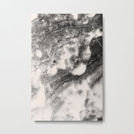Marble Flow - Black & Cream Metal Print