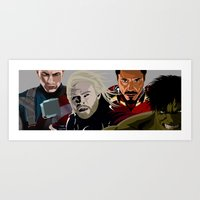 young avengers Art Prints featuring Avengers by burga
