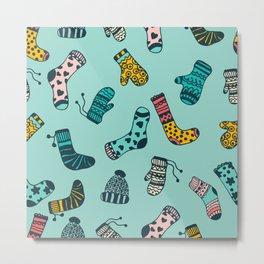 Socks and Mittens Pattern Metal Print