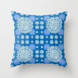 Bright Blue and Silver Kaleidoscope Mandala Pattern Throw Pillow