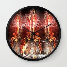Brennende Gitarre Wall Clock
