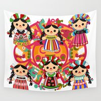 mexican Wall Tapestries featuring Mexican Dolls by Alapapaju