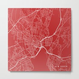 New Haven Map, USA - Red Metal Print
