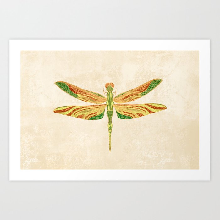 Antique Art Nouveau Dragonfly Kunstdrucke