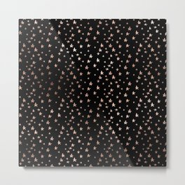 Black & Rose Gold Star Pattern Metal Print