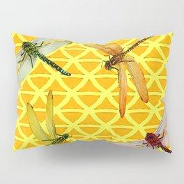 DRAGONFLIES PATTERNED YELLOW-BROWN ORIENTAL SCREEN Pillow Sham