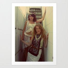 Girls on Urban Staircase Art Print