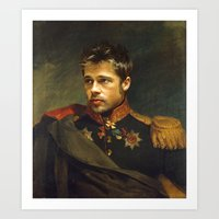brad pitt Art Prints featuring Brad Pitt - replaceface by replaceface