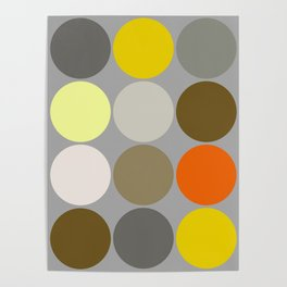 Mid-Century Giant Dots, Gray, Gold and Orange Poster