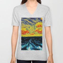 Sky and Waves Oceanic Landscape Painting by Emil Nolde Unisex V-Neck