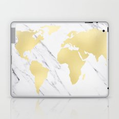 World Map Marble Gold Rush Laptop & iPad Skin