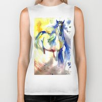 mustang Biker Tanks featuring Watercolor Mustang by Madkazer Designs