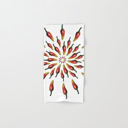 Red Peppers Mandala Art Hand & Bath Towel