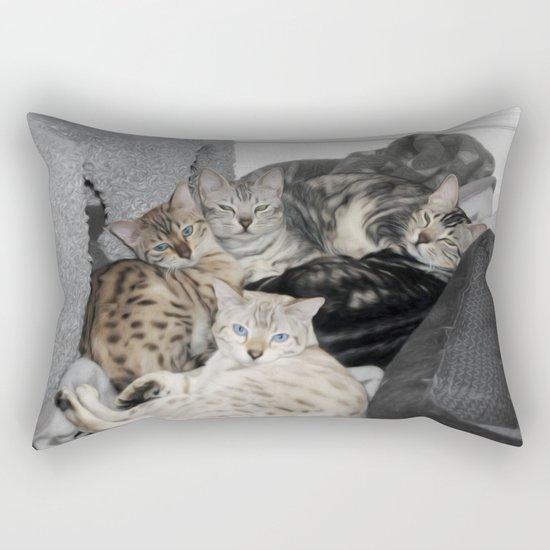 Bengal Cat Kitty Pile  Rectangular Pillow