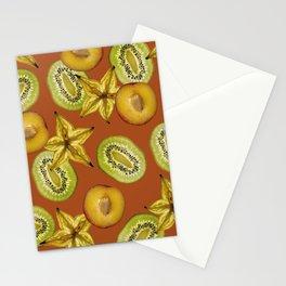 Starfruit Kiwi Nectarine pattern Food Design Stationery Cards