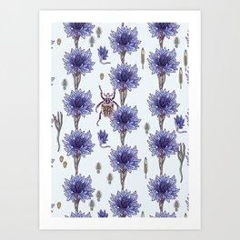 blue cornflower fields Art Print