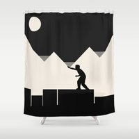 climbing Shower Curtains featuring Climbing out by Tammy Kushnir