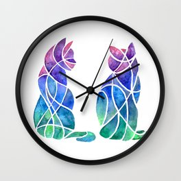 Cubism Cat Besties Wall Clock