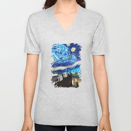 Tardis Art Starry City Night Unisex V-Neck