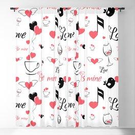 Valentine's day elements pattern Blackout Curtain