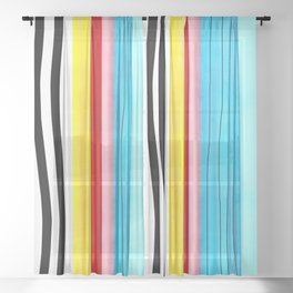 Vertical handmade lines Marine blue, striped black and white Sheer Curtain