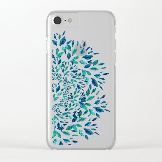 Blue Leaves Mandala Clear iPhone Case