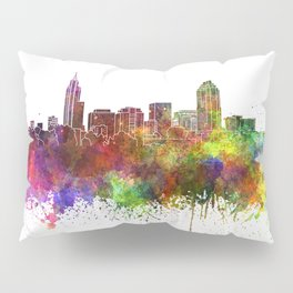 Raleigh skyline in watercolor background Pillow Sham