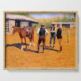 """Frederic Remington Western Art """"Buying Ponies"""" Serving Tray"""