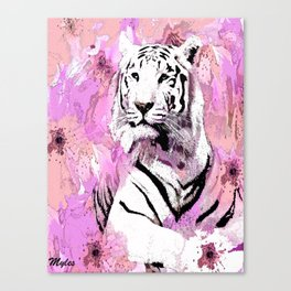 TIGER WHITE WITH CHERRY BLOSSOMS PINK Canvas Print