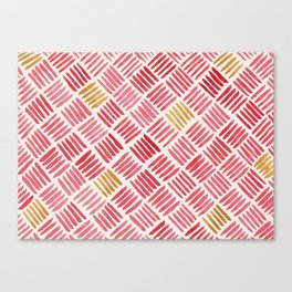 Red and Ochre Basketweave Canvas Print